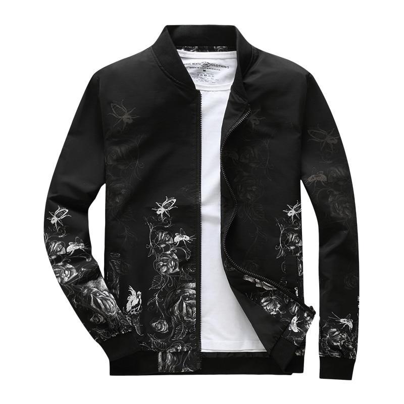 Модная мужская куртка демисезонная: весна-осень! Черная куртка с цветами!