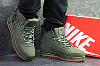 Мужские зимние  кроссовки в стиле Nike Air Force. Код товара Д - 6395. Темно зеленые