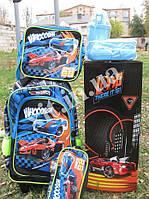 Детский набор 5 в 1 Авто:рюкзак на колесах, сумка, пенал, посуда, фото 1