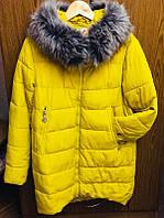 Женский теплый пуховик Snow Clarity желтый, наполнение холлофайбер