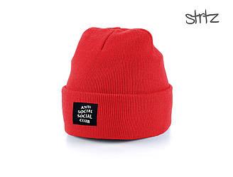 Шапка Anti Social Social Club красного цвета  (люкс копия)