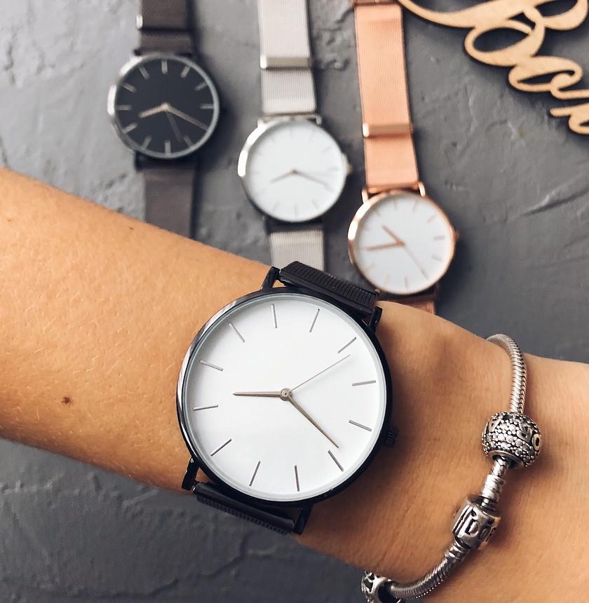 Женские часы Classic steel watch черные, жіночик годинник, кварцевые женские часы с кольчужным ремешком