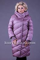Зимний пуховик-пальто без меха большого размера Snow beauty 1858A, фото 1