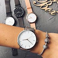 Жіночі годинники Classic steel watch срібні, жіночий наручний годинник, кварцові годинники з кольчужним ремінцем