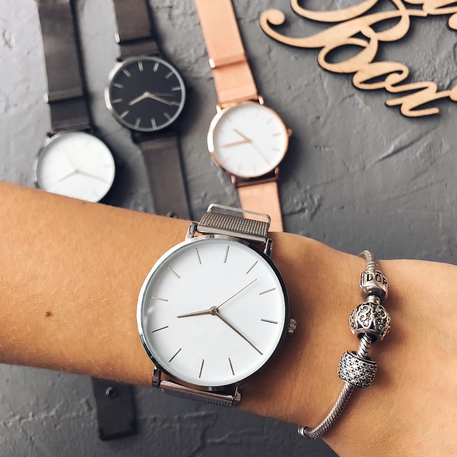 Женские часы Classic steel watch серебряные, жіночий наручний годинник, кварцевые часы с кольчужным ремешком