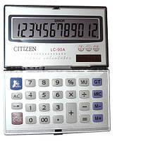 Компактный раскладной калькулятор Citizen 90A, солнечная батарея + обычная, пластик, автоотключение, Китай