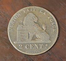 Бельгія 2 сентима 1862 рік