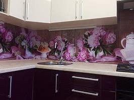 Скинали из стекла с фотопечатью розовых пионов - установка в Днепре 2