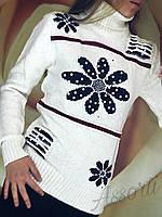 Женский шерстяной свитер ( гольф ) турецкий Ромашка
