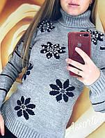 Женский шерстяной свитер ( гольф ) турецкий Ромашка бусины, фото 1