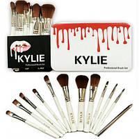 Набор кистей KYLIE 12 шт. в металлической коробке, кисти для макияжа