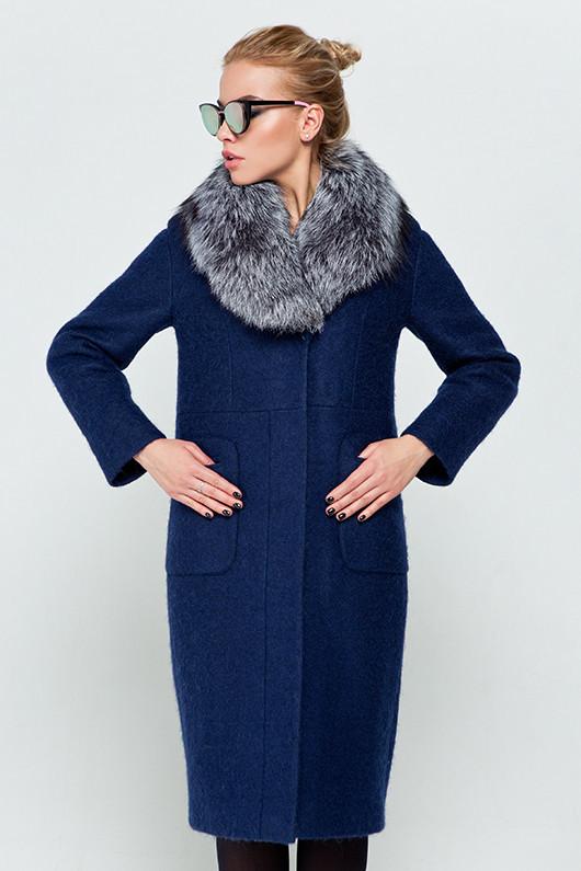 """Женское зимнее пальто длинное с натуральным мехом чернобурка, """"Фиби"""" синий, размеры от 42 по 48"""