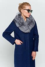 """Женское зимнее пальто длинное с натуральным мехом чернобурка, """"Фиби"""" синий, размеры от 42 по 48, фото 2"""