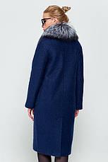 """Женское зимнее пальто длинное с натуральным мехом чернобурка, """"Фиби"""" синий, размеры от 42 по 48, фото 3"""