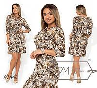 Платье-миди с леопардовым принтом, вырезом и завязками на декольте с рукавами 7/8 и воланом на юбке  ...