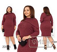 Платье приталенного кроя из ребаны+люрекс с воротником-хомут на одно плечо и рукавами 7/8 Z0508