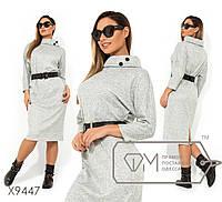 Платье-миди цельнокроенное из ангоры софт с напыление, широким воротником укороченными рукавами и по ...