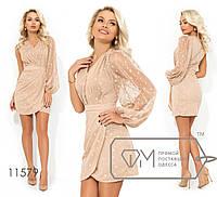Платье-мини с V-образным вырезом одним рукавом-фонарик втачным поясом и юбкой с имитацией запаха, ос ...