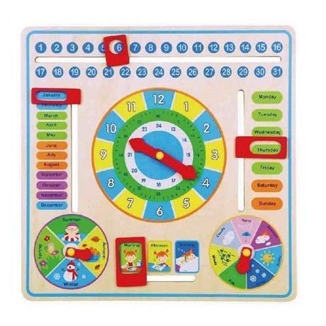 """Деревянный набор """"Часы и календарь"""" Viga toys (59872)"""