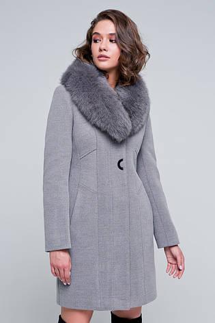 "Жіноче зимове пальто натуральне хутро песця, шерсть ""Вайнона"" мокко, розміри 42-48, фото 2"