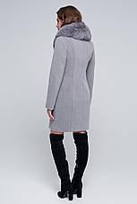 "Жіноче зимове пальто натуральне хутро песця, шерсть ""Вайнона"" мокко, розміри 42-48, фото 3"
