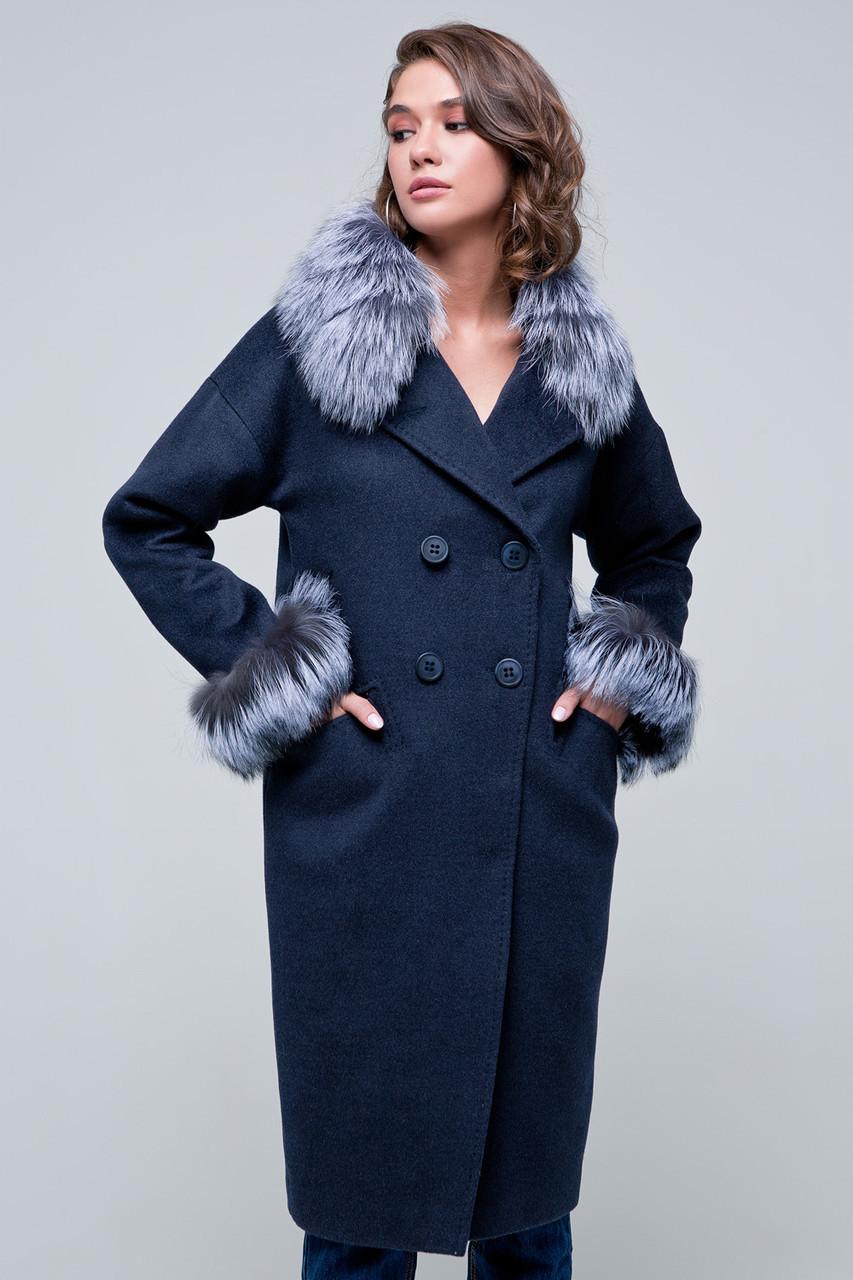 Жіноче зимове пальто з хутром на рукавах «Уїтні» темно-синє