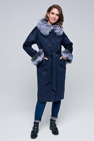 Жіноче зимове пальто з хутром на рукавах «Уїтні» темно-синє, фото 2