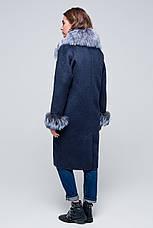 Жіноче зимове пальто з хутром на рукавах «Уїтні» темно-синє, фото 3