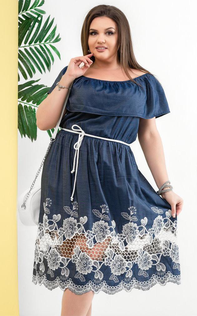 Летнее платье с вышивкой. Модель 18376. Размеры 50-56