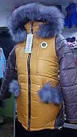 Красивая и качественная куртка-пальто  зимняя 7-12 л/натуральная опушка/кирпичный