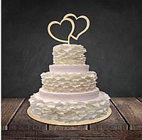 """Топпер для торту або букету квітів """"Two Hearts"""" 12,5 см., фанера 4 мм."""