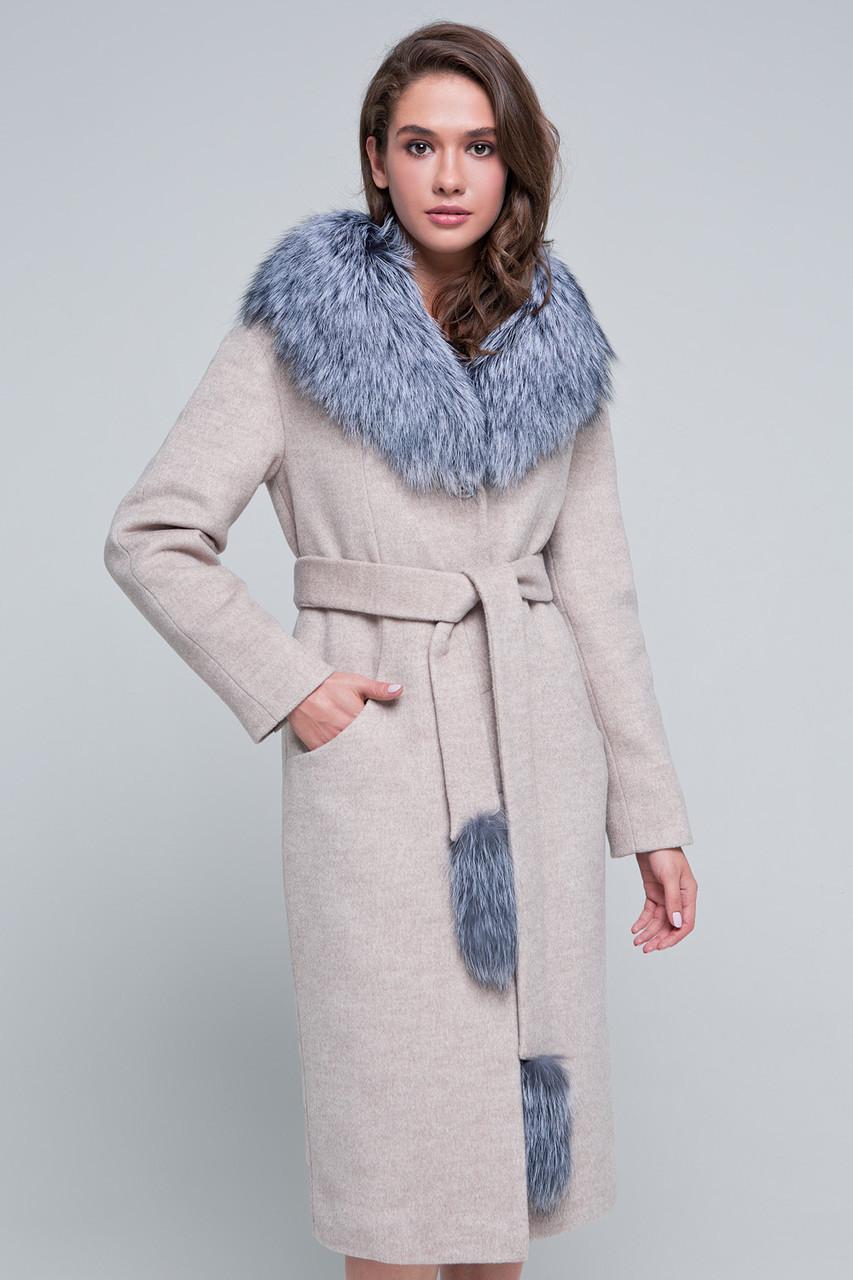 Женское зимнее пальто с мехом, шикарный мех чернобурка,  «Тати» бежевое, размер от 42 по 48