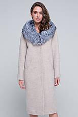 Женское зимнее пальто с мехом, шикарный мех чернобурка,  «Тати» бежевое, размер от 42 по 48, фото 2