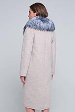 Женское зимнее пальто с мехом, шикарный мех чернобурка,  «Тати» бежевое, размер от 42 по 48, фото 3