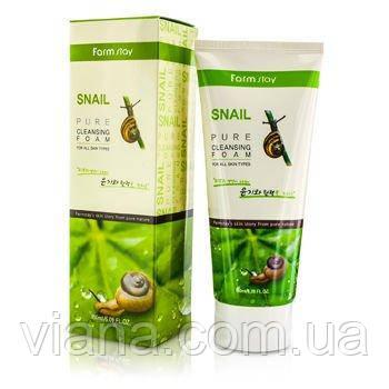 Улиточная деликатная пенка для умывания FarmStay Snail Pure Cleansing Foam 180 мл