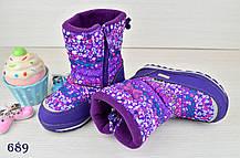 Ботинки дутики  детские зимние на меху на девочку фиолетовые 25 размер, фото 3
