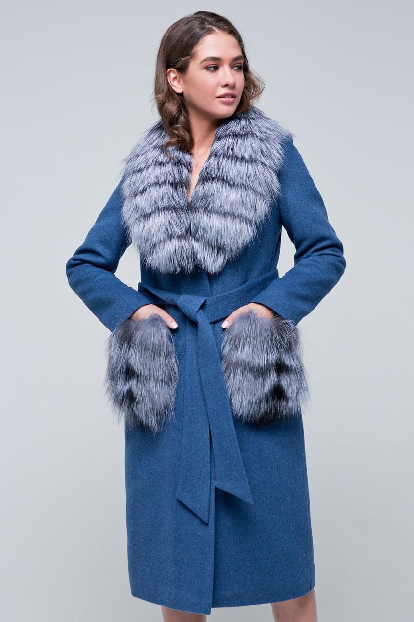 Женское зимнее пальто с меховыми карманами  «Мэдисон» голубое