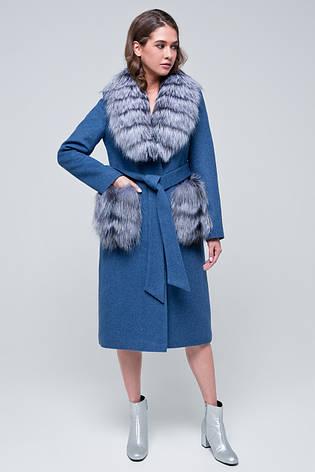 Женское зимнее пальто с меховыми карманами  «Мэдисон» голубое, фото 2