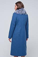 Женское зимнее пальто с меховыми карманами  «Мэдисон» голубое, фото 3
