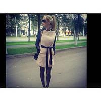 Пальто с кожаными рукавами Алина