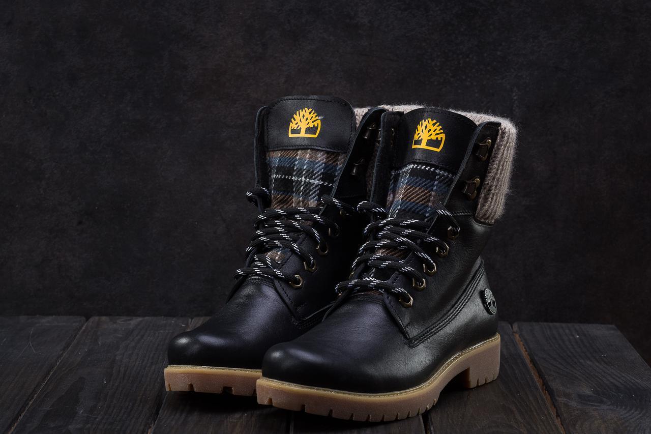 Ботинки женские кожаные зимние в стиле Timberland черные