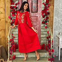 Женское льняное платье с вышивкой Роксолана красное 46 086a0fc913d19