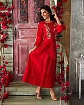 Женское льняное платье с вышивкой Роксолана красное, фото 3
