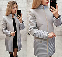 Пальто, арт 137, ткань эко-кашемир + плащевка, цвет серый, фото 1