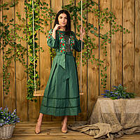 Женское льняное платье с вышивкой Роксолана изумруд 42 c80ab58f99518