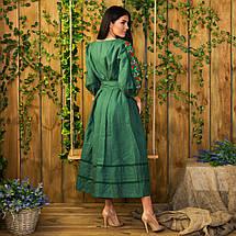 Женское льняное платье с вышивкой Роксолана изумруд, фото 2