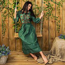 Женское льняное платье с вышивкой Роксолана изумруд, фото 3