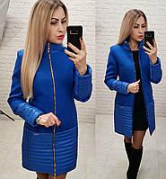 Пальто, арт 137, ткань эко-кашемир + плащевка, цвет электрик, фото 1