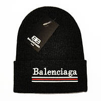 Молодежная мужская вязаная шапка Balenciaga черная демисезонная унисекс брендовая новинка реплика