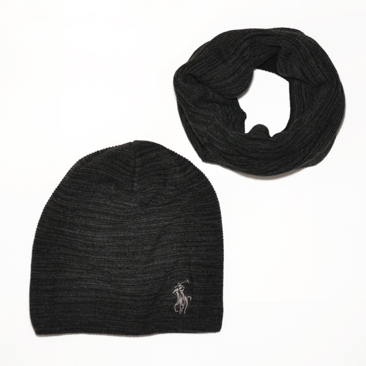 57ded6806714 Мужской комплект набор вязаная шапка и хомут шарф Polo Ralph Lauren  темно-серый с черным ...